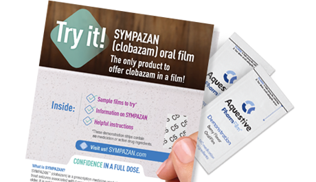 In this kit, you'll receive instructions, information on SYMPAZAN, and non-drug sample films to try
